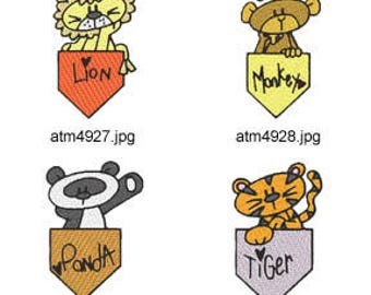Jungle-Pockets  ( 7 Machine Embroidery Designs from ATW ). XYZ17D