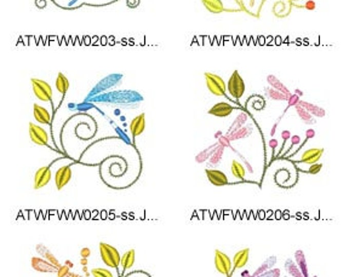 Jacobean-Dragonflies ( 10 Machine Embroidery Designs from ATW ) XYZ17D