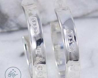 Beaufitul Authentic Tiffany & Co. Pierced Hoop Earrings from the 1837 Series - Mint Condition!