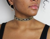 ISOLDE- Black + Gold + White Scarlet Flower Blossoms Tapestry Lace + Vegan Suede Choker
