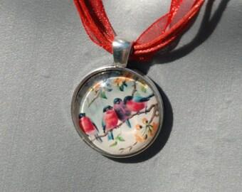 Four Robins Pendant Necklace