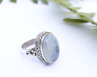 Genuine Moonstone Ring, Rainbow Moonstone Ring Sterling Silver, Moonstone Silver Ring, Boho Ring -June Birthsone - Natural Moonstone Jewelry