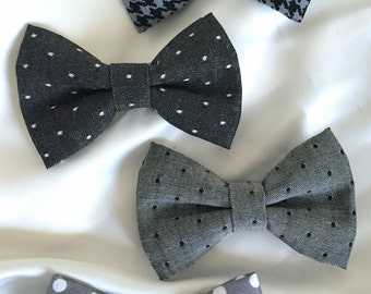 4 Pack Bow Ties/Boys Ties/Grey and Black Bow Tie/Polka Dot Bow Tie/Checkered Bow Tie/Baby Boys Gift/Gray and White Bow Tie/Birthday Bow Tie/