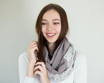 Pale Brown Infinity Scarf / Pale Brown Scarf / Womens Scarves / Cowl Scarf / Fashion Scarves / Jersey Knit Scarf / Lace Scarf / Gift for Her