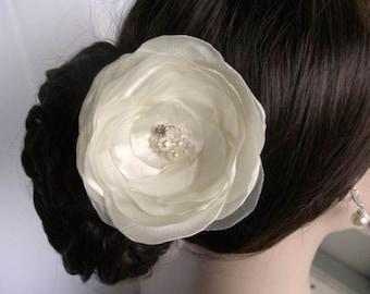 Handmade Ivory Satin & Organza Bridal Hair Flower Hair Clip, Bridal, Wedding (Sparkle-1795)