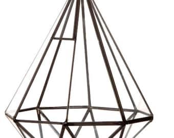 Glass Terrarium Diamond Shaped Planter, Miniature Terrarium for Living Plant, Fairy Garden, Fairy Light, Diorama, and Air Plants
