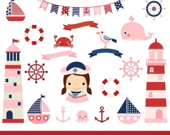 Pink nautical clipart, Lighthouse clip art baby shower, Cute girl sailing party sailor clipart, Ocean sailboat clipart, whale, helm, bunting