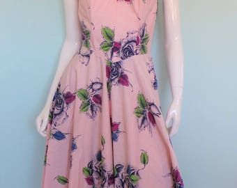 1950s Rose Print Full Skirt Dress, Girly Pin Up Style Strapless Dress, Rockabilly Pretty Floral Gown, Rose Garden Swing Frock, Medium