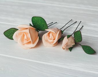 Set of 3 Blush pink roses hairpins Ivory rustic wedding hairpins Bridesmaids hair accessory Flower Hairpins Bridal pink roses bobby pins