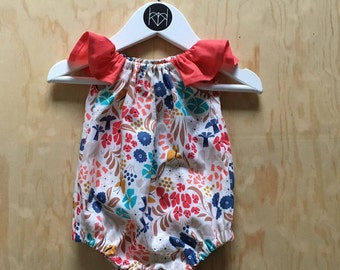 Organic Baby Girl Frankie Romper Sizes 0-3, 3-6, 6-12, 12-18, 18-24 months by Katelyn Mannix Designs