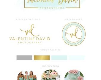 Branding Package, Branding Kit, Premade Logo, Watercolor Logo, Logo Design, Gold Logo, Mint Logo,Calligpaphy, Photography Logo, Wedding Logo