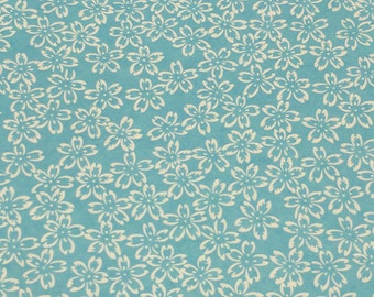 Japanese Yuzen (Chiyogami) Paper - 6x6 inches - 1, 3, 5, or 10-Sheet Pack - White Flower Outlines on Light Blue- #780