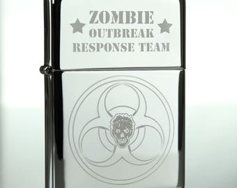 Chrome Zombie Outbreak Response Team Windproof Oil Lighter