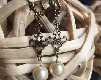 Filigree Pearl Earrings, bronze pearl dangle earrings, filigree earrings, ivory pearl earrings, bridal earrings, bride earrings