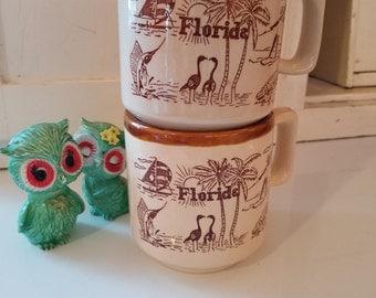 Vintage Florida Coffee Mugs stoneware ceramic TOURISM collectibles