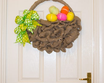 Easter Burlap Basket Needle Felted Eggs Spring Wreath