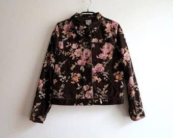 Chocolate Brown Jacket Brown Pink Floral Print Jacket Velvet Blazer Women's Blazer Medium Size Blazer