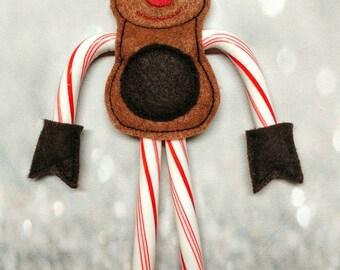 Reindeer Candy Cane Holder - Christmas Ornament - Stocking Stuffer - Candy Holder - Secret Santa Gift