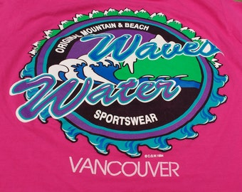1994 Vintage Vancouver Waves Water Original Mountain & Beach Sportswear Canadian Graphics West Inc. double-sided Pink t-shirt