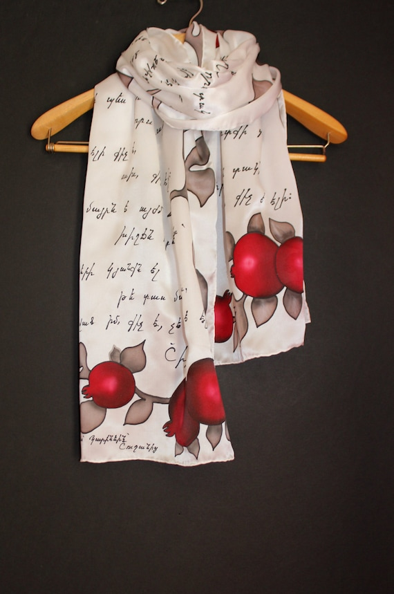 Mother poetry scarf,Hand painted long scarf,White silk scarf, Pomegranate, Armenian letter scarf,Gift for armenian mother,Painted silk,Batik