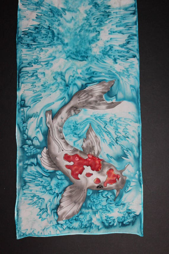 Hand painted scarf,Koi painting,Red black blue scarf,Nature,Water,Long silk scarf,Fish lovers gift,Gift for her,For girlfriend,Etsy ASAP