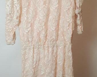 Beaded Sequined Dress, Pale Pink, 1920s, Flapper, Great Gatsby, Drop Waist, Asymmetric Scalloped Hem