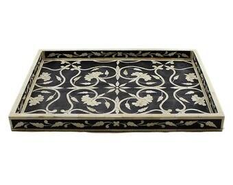 Bone Inlay Black Decorative Tray, Ottoman Tray, Coffee Table Tray