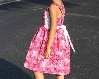 Girls Bow Print Dress, Girls Summer Dress, Girls Party Dress, Girls Birthday Dress, Girls Pink Dress