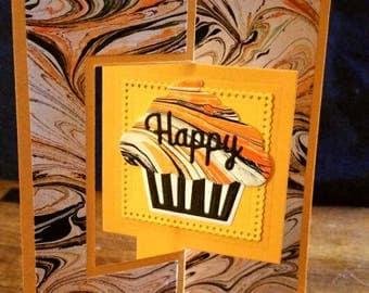 Hand Marbled Birthday Card