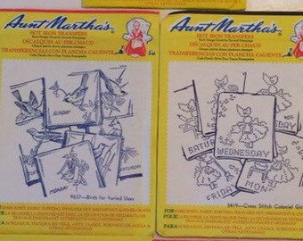 """2 Patterns of Aunt Martha's Hot Iron Transfers """"Birds for Varied Uses"""" and """"Cross Stitch Colonial Girl"""""""
