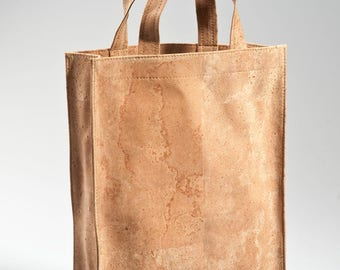 Natural handmade cork two bottle bag, eco-friendly cork purse, cork bag, gift for him, natural gift