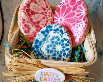 12 Floral Easter Egg Cookies