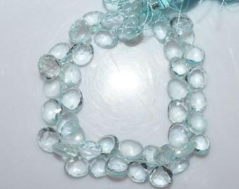 Natural Aquamarine Heart Shape Faceted Briolette - Aquamarine Briolette , 8 x 8 mm , 8 Inch Strand - BL1357