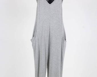 Relaxed Fit Sleeveless Jumpsuit/Racer Back Sleeveless Side Pocket Jumpsuit/Summer Jumpsuit/ ( + Colors )