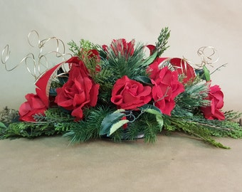 Christmas Centerpiece Rose Centerpiece Holiday Floral Elegant Style Mantel Decor Coffee Table Centerpiece Free Shipping
