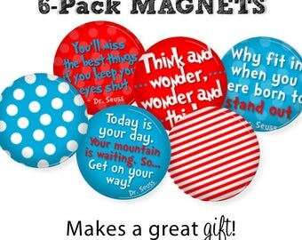 Dr. Seuss Magnets • SET OF 6 • Motivational • Oh The Places You'll Go • Graduation Gift • Dorm Decor