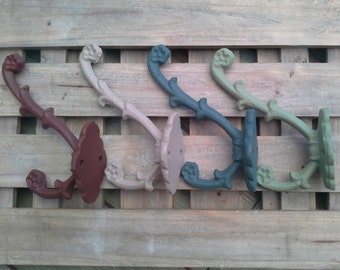 Iron Coat Hook or Wall Hook Vintage Rustic Green and Blue