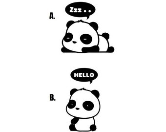 Hello Sleeping Cute Panda Wall Car Laptop Vinyl Decal Decor Stickers. Black & White Colors.