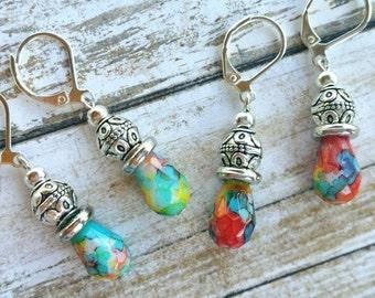 Watercolor Bead Earrings / Boho Earrings / Vintage Earrings / Southwestern Earrings / Bead Earrings
