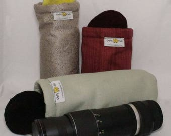 Camera Lens Bags (Large), Free Shipping, Photography Accessories, Non-abrasive fabric to protect lens, Top flap and drawstring