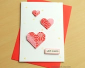 Heart Valentine's Day Card - Card For Her - Origami Card - Love and Kisses -Handmade Card.