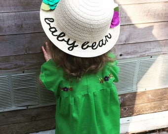 girls embroidered straw hat - baby bear beach hat - sun hat - summer hat for girls - bucket hat for girls - baby bear - kids hats