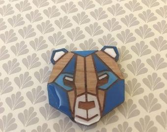Geometric Bear Brooch