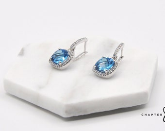Blue Topaz Square Drop Studs with Cubic Zirconia | Blue Topaz Earrings | Blue Topaz Square Earrings | Blue Drop Studs | Blue Square Earrings