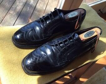 "Johnston & Murphy Classic ""Lawyer's"" Black Wingtips - Size 7- small"
