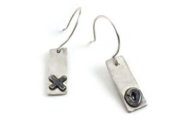 X's & O's Bar Earrings*   Rustic Bar Dangle Earrings, Artisan Blackened Silver Earrings,