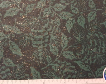 "Christmas Fabric, Green with Metallic Accents, Green leaves by Fabric Traditions, Quilting Fabric, 100% Cotton, OOP, Remnant 11"" x 44"""