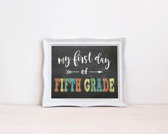 """First Day Of Fifth Grade Chalkboard Sign 