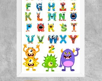 alphabet, abc, monster, printable, instant download, poster, A3, boys, nursery, playroom, decor, wall art