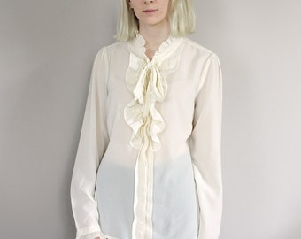 Vintage Victoriana Ivory Sheer Blouse with Ruffled Collar and Cuffs - Small